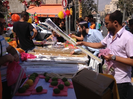 The Streets of Jerusalem were filled with people buying their lulav and etrog!